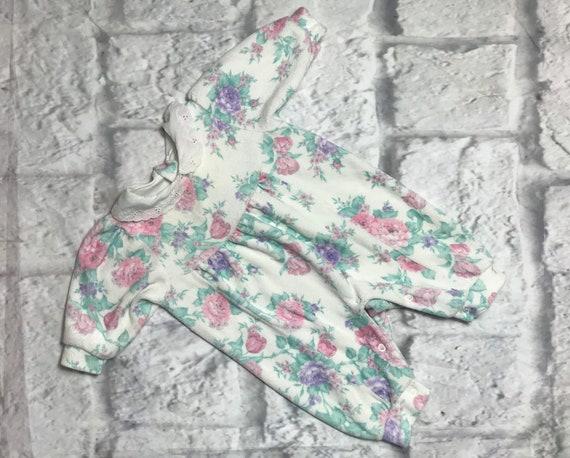 Vintage Motif Floral Baby Girls SleepsuitNouveau-né 0-3 3-6 6-12 mois