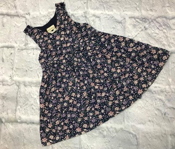 Vintage girls floral corduroy jumper 3t dress pina