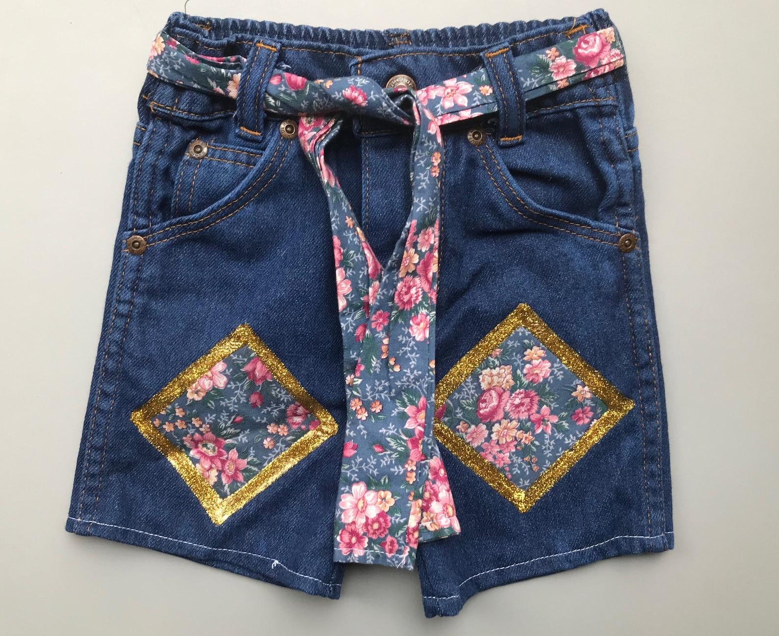 vintage jeans shorts mädchen 34 jahre floral sommer