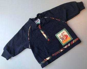 Vintage polo shirt baby boy girl 0-3 months bunny rabbit 1990s navy blue patchwork