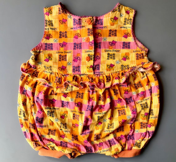 Summer top vest baby girl vintage 6-9 months 1980s retro pink romper play suit