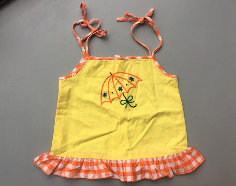 Vintage girls summer top 2-3 yellow 1980s embroidered