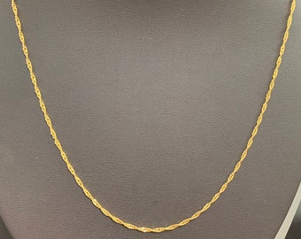 CN-584 Perfect for Pendant Charm 1pc 17.5/'/' Ready to Use 24K Gold Filled Unique Necklace Chain,Layering Plate Lock Chain Dainty Necklace