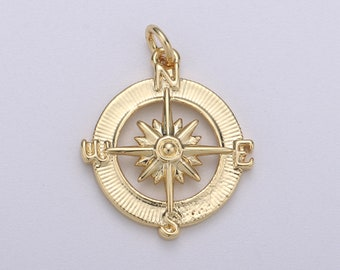 M1392-2pcs-Gold Plated-Compass Charm-Compass Pendant-Coin Charm