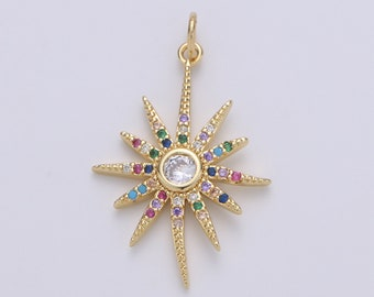 For DIY Necklace Bracelet Earring 1pc 24k Gold Filled Micro Pave Star Charm Blue North Star Moon Pendant Charm Gold Filled Charm
