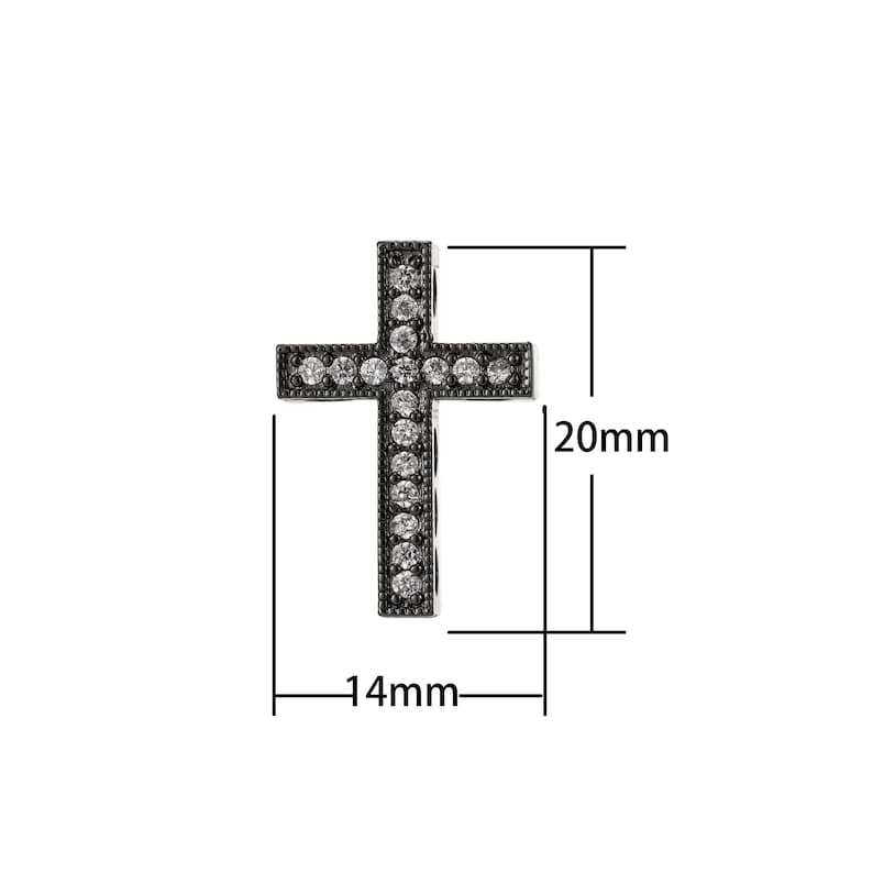 and bracelet Cross Micro Pave CZ 14K Gold Filled Bead Necklace vertically or horizontally design charm,Gun Metal Plated Good For Earring