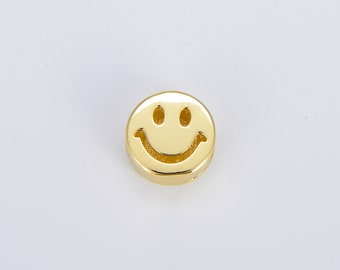 1 pc. 11.5mm Smiley Face Beads, Emoji Beads, Happy Face, Gold Cute Spacer Beads, Necklace And Bracelet Making, Jewelry Supplies B-484
