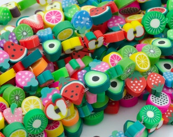 Small Fruit shape beads,colorful fruits beads,fruit Polymer Clay Beads rubber cute Kawaii bead for bracelet necklace phone strap charm,BB170