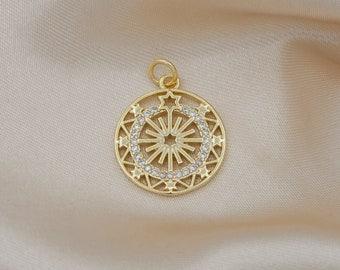 Mini Coin Charm Gold Micro Pave Star Charm, Clear Cubic Charms, CZ Medallion Charm Dainty Small Round Charm -547