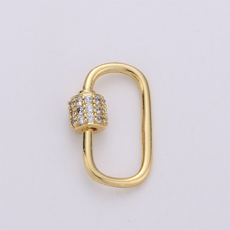 1pc Dainty Small Carabiner Screw  Clasp Gold Color Only Pave Oval Shaped Clasps Interlocking Oval Clasp Screw Clasp Oval