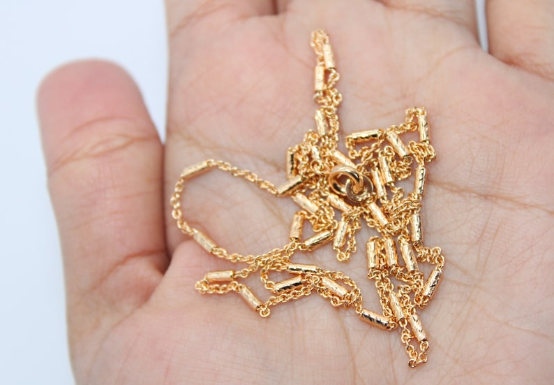 18k Pinky Gold Plated Cable with Bead Bar Chain Necklaces 1mm Thin Pinky Gold Plated Cable Chain Necklace