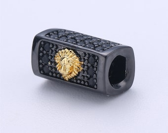 Tiger Bead Cuboid Tube Spacer Bead Metal Pave Black CZ Long Bar Slider Charm for Men Women Jewelry Making Supplies