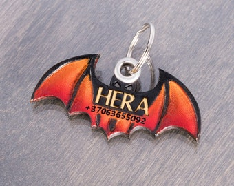 Bat Halloween Dog Tag Name ID for Collar - Customised Natural Tooled Leather