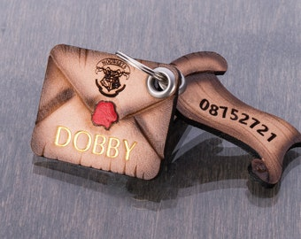 Hogwarts Letter Dog Tag Name ID for Collar - Customised Natural Tooled Leather