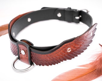 Leather Dog Collar With Wings, Hand Made, Thick, Waterproof, with Stainless Steel