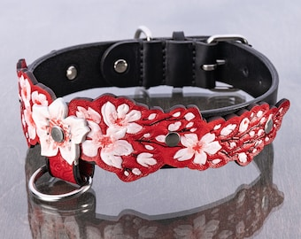 Japanese Sakura Blossom, Red, Embossed, Handmade, Natural Leather Dog Collar with Stainless Steel Hardware