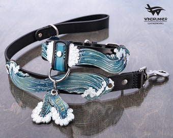 Natural Leather Dog Collar, Traffic Leash and ID Tag set, Ocean Wave - Thick, Waterproof, with Stainless Steel Hardware