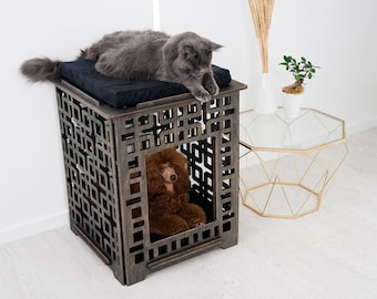 Dog and cat crate – Small modern indoor dog house. Dog furniture, dog crate, pet house, new dog gift, heavy duty dog kennel, dog cage