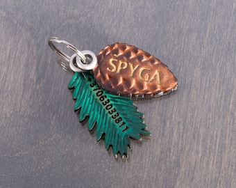 Pine Cone Dog Tag Name ID for Collar - Customised Natural Tooled Leather