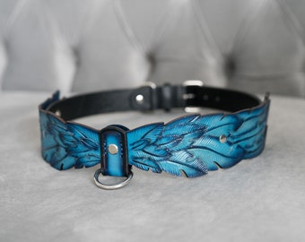 Royal Blue Natural Leather Dog Collar with Stainless Steel Hardware, Feather dog Collar