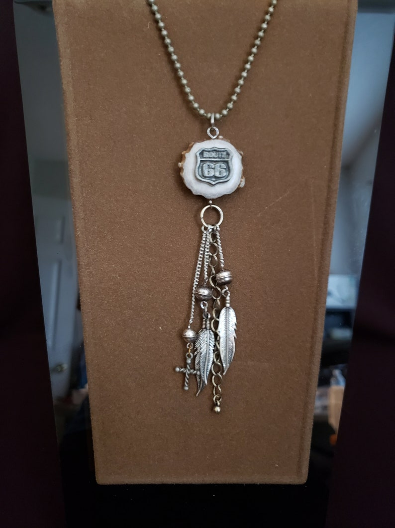 Sterling silver eagle feather 26 Ball bead necklace; 5 drop and metal beads. antler