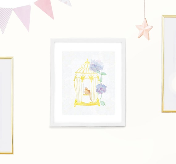 Watercolor Birdcage Nursery Wall Art Printable Girl S Etsy