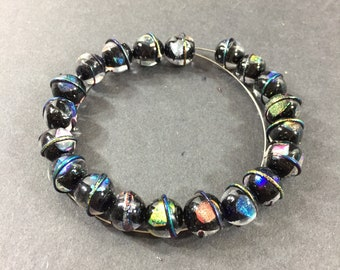 for necklaces etc Black with black eye and orange trim artisan lampwork glass focal bead bracelets OOAK bead earrings