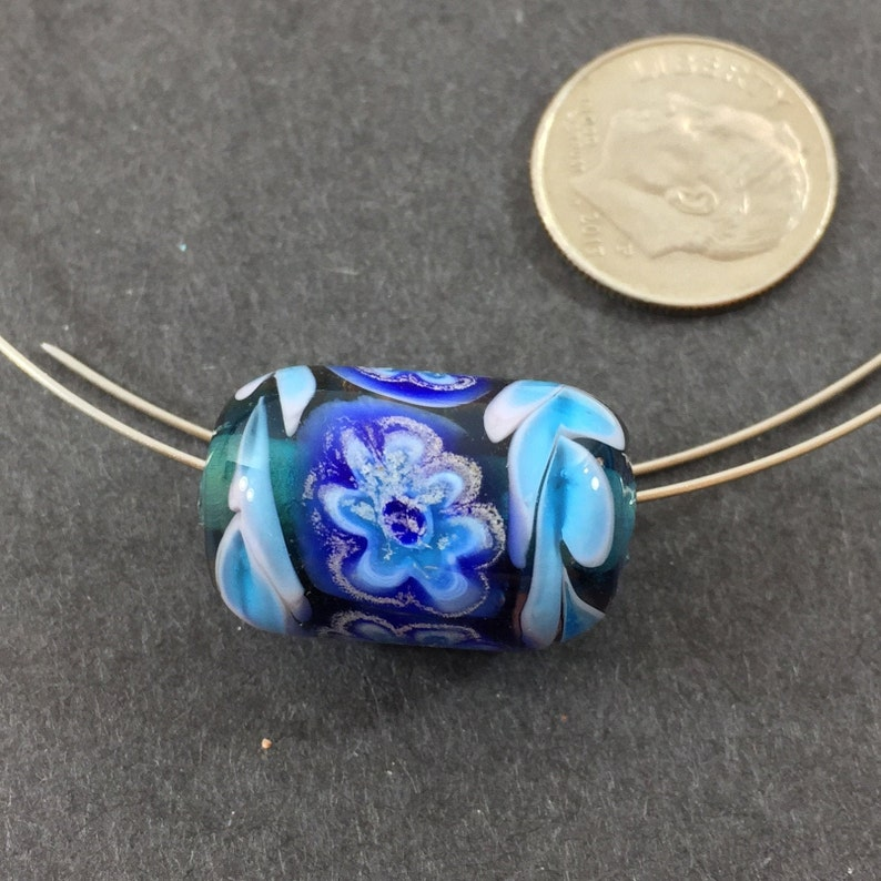earrings for necklaces bracelets Transparent teal blue  with millefiori flower artisan lampwork glass tube bead etc.
