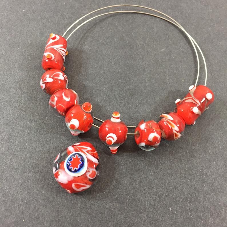 earrings etc. bracelets for necklaces Star Millefiori red white swirl artisan lampwork glass focal bead set