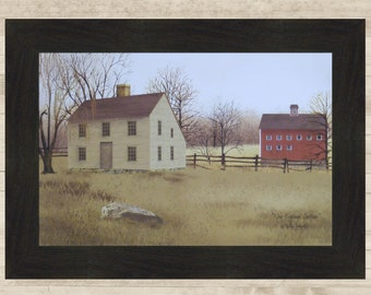 Primitive Sheep American Flag Americana Salt Box House Distressed Print 8x10