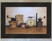 The Daily Grind by Billy Jacobs 16x22 Coffee Beans Grinder Primitive Photography Country Kitchen Print Folk Art Framed Picture