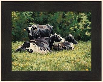 16x20 Moon Over Holstein Country Cow Farm Animal Wall Decor Art Print Poster