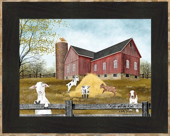 CUT YOUR OWN by Billy Jacobs 16x40 FRAMED PICTURE Christmas Tree Farm Barn Snow