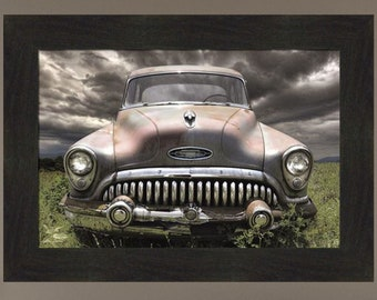 Stormy Buick by Lori Deiter 16x22 Classic Car Storm Clouds Framed Art Print Picture