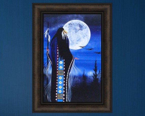 Native American Cree Indian On Horse Landscape Painting Real Canvas Art Print