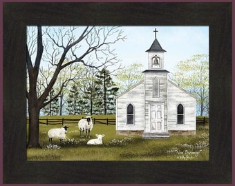 New Beginnings by Billy Jacobs 16x20 Church Steeple Sheep Lamb Lambs God Farm Framed Print Picture