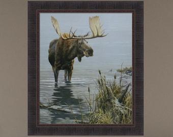 Silent Waters by John Seerey-Lester 25x29 Bull Moose Lake Wildlife Framed Art Print Picture