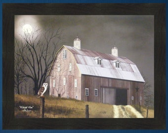 Midnight Moon by Billy Jacobs 22x28 Full Moon Owl Barn Halloween Autumn Fall Farmed Art Print Picture