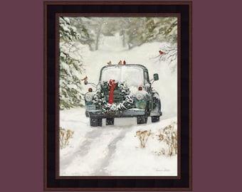Winter Park by Bonnie Mohr 16x20 Car Cardinals Snow Winter Framed Art Print Wall Décor Picture