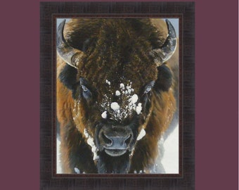 Winter Warrior by Terry Isaac 24x29 Buffalo Bison Snow Wildlife Framed Art Print Picture