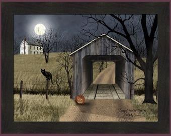 Sleepy Hollow Bridge by Billy Jacobs 22x28 Pumpkin Black Cat Halloween Full Moon Autumn Fall Farmed Art Print Picture