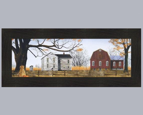 AFTER THE HARVEST by Billy Jacobs 15x21 Autumn Fall Scarecrow Barn FRAMED ART