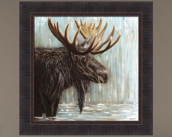 Adaption by Angela Bawden 23x23 Moose Water Lake Cabin Lodge Framed Art Print Picture