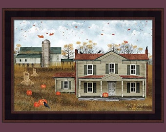 Fall At J.H. Williams Farm by Billy Jacobs 16x22 Crow Crows Autumn Fall Pumpkins Ravens Halloween Primitive Folk Art Framed Picture
