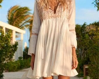 32a0662acf ASHER Beach Cover up Dress Boho Vintage Summer Holiday Swim White Dresses