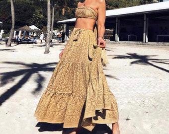 b793534d1e CATRINE Maxi Skirt Bohemian Leopard Print Boho Vintage Summer Holiday Beach