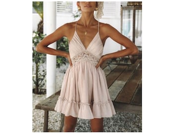 87d415df23 CLAUDINE Pink Mini Sundress Summer Lace Dress Sexy Backless V-neck Beach  Dresses 2019 Sleeveless Spaghetti Strap