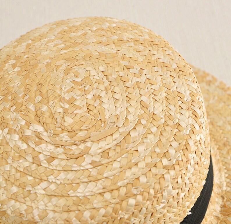 boater hat Beach Sun Hat Female Raffia FLYNT women flat top straw hat