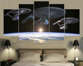Star Trek Enterprise Final Frontier Space Framed Canvas Five Piece Wall Art Home Decor 5 pc For Him For Her