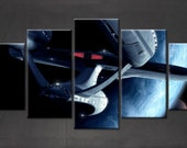 Star Trek Enterprise Framed Unframed Canvas. Five Piece. Wall Art. Home Decor. Interior Design. 5 pc. For Her. For Him.